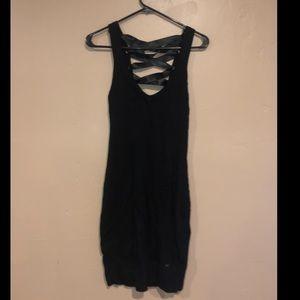 Black lace up guess dress size large nwot